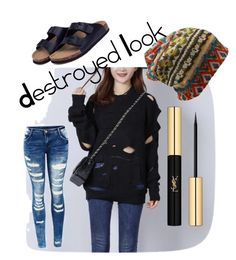 """""""Destroyed Sweater"""" by mindfulbohemian ❤ liked on Polyvore featuring Yves Saint Laurent"""