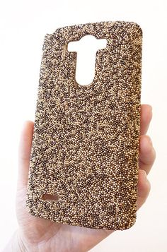 LG G3 Limited Edition Brown Pearl Beads with Gold Glitter  by Yunikuna