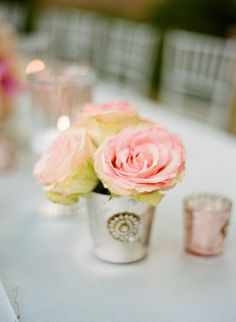 two favorites = pink roses and mercury glass = heaven
