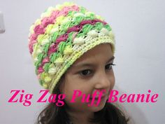 This free crochet Beanie pattern teaches you how to make a Zig Zag Beanie using the Zig Zag Puff Stitch.