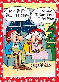 Funny Old Couple Butt Fell Asleep Cartoon Picture | Funny Joke Pictures