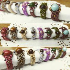 «#macrame#macramerings#geamstone#매듭공예#마크라메반지#매듭반지#원석반지#옛사진 우려먹기~» Macrame Bracelet Patterns, Macrame Rings, Macrame Necklace, Macrame Knots, Macrame Jewelry, Macrame Bracelets, Beaded Rings, Hemp Jewelry, Jewelry Crafts