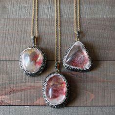 Swarovski Crystal Red Celadonite Quartz Necklace/ by EwelinaPas