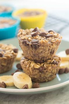 These Banana Chocolate Chip Baked Oatmeal Cups are an easy, healthy breakfast that is make ahead, freezer friendly, high in protein and fiber, gluten free