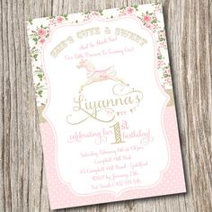 Vintage, Pony Party, Carousel, Horse, Shabby Chic, Cotton Candy, Pink, Gold, Blush, cowgirl, Circus, Baby Shower, Birthday, Invitation