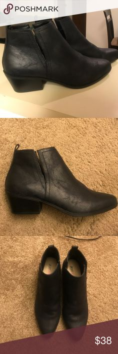 Black side slit booties! New Black side slit bootie! 1.75 heel height. Faux suede/leathery material. Image of these worn in brown above. Only wore these for about 30 minutes to run to the store, slightly too narrow for my feet. JustFab Shoes Ankle Boots & Booties