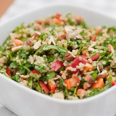 This quinoa salad recipe is a healthy and colorful starter or side dish.. Quinoa Salad Recipe from Grandmothers Kitchen.