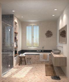#stoere #landelijke #badkamer met Leava Claire Maison badmeubel.