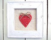Coral red ceramic tile birds heart  love words, linen. £26,00, via Etsy.