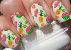 Fruit Watermelon Pineapple Kiwi A1018 Nail Art Transfers Decals Set Of 22