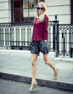 Poppy Delevingne wearing Sandro top and shorts, Givenchy heels, Meli Melo bag, House of Holland sunglasses