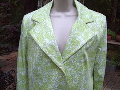 Gallery Floral Print lined button Front long jacket size Large washable #gallery #BasicCoat