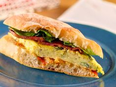 Goat Cheese and Red Onion Frittata Sandwich Crunchified with Pepper Relish recipe from Bobby Flay via Food Network