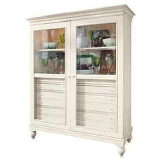 Showcase family heirlooms and curios in this lovely 2-door display cabinet. 8 interior drawers stow linens, flatware, and more, while 2 illuminated shelves h...