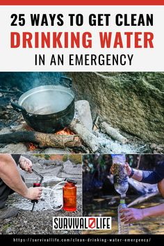 How many ways to get clean drinking water do you know? These methods will help you hydrate when clean drinking water is not readily available. #cleandrinkingwater #drinkingwater #survivalskills #survivalhacks #survival #preparedness #survivallife Survival Hacks, Survival Life, Survival Tools, Survival Prepping, Emergency Preparedness, Outdoor Shelters, Safe Drinking Water, In Case Of Emergency, Shtf