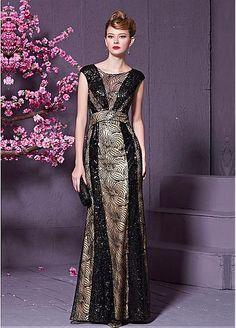 In Stock Fabulous Lace & Beaded Tulle & Malay Bateau Neckline Sheath Evening Dress
