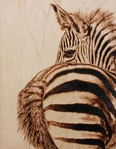 wood burned wildlife portrait, by Julie Bender love the zebra. not sure if I like the butt. Wood Burning Crafts, Wood Burning Patterns, Wood Burning Art, Wood Crafts, Pyrography Patterns, Pyrography Ideas, Gourd Art, Equine Art, Wildlife Art