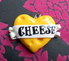 I Heart Cheese Polymer Clay Heart Banner by FionaBirdCreations