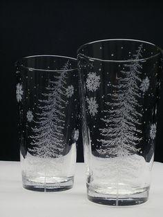 2 Bicchieri di pinta. 'Abete con galleggiante di daydreemdesigns, $48.00