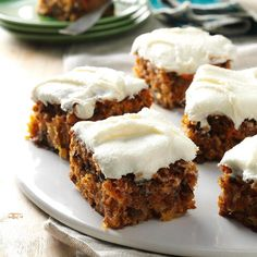 Tropical Carrot Cake Recipe -I look forward to August because our family reunion means fun and great food, like this classic cake with the special flair it gets from pineapple. My great-aunt gave me this recipe Food Cakes, Cupcake Cakes, Cupcakes, Tropical Carrot Cake Recipe, Taste Of Home Carrot Cake Recipe, Cookies Et Biscuits, Cake Cookies, Cake Recipes, Dessert Recipes