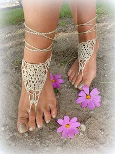 Cream Crochet Barefoot Sandals Nude shoes Foot by Selanestore, $10.00