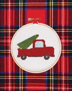 Free chart for a Christmas Tree Truck Cross Stitch Pattern