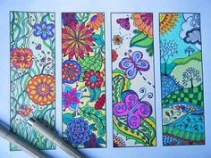 Bookmarks to Print and Color - Zentangle Bookmark Coloring Page - Digital Download - Bookmark Number 4