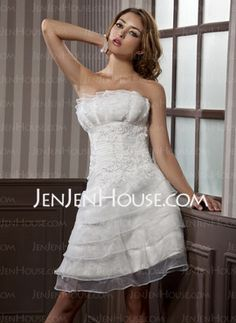 A-Line/Princess Scalloped Neck Short/Mini Organza Satin Wedding Dresses With Ruffle Lace (002012067)