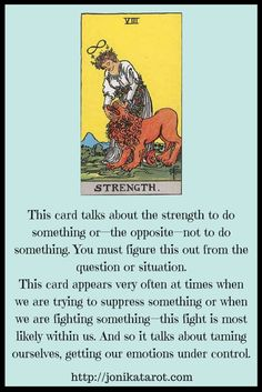 The origins of the Tarot are surrounded with myth and lore. It is hard to know for sure what the facts are. The Tarot has been thought to come from places like India, Egypt, China and Morocco. Others say the Tarot was brought to us fr Strength Tarot, Tarot Cards For Beginners, Love Psychic, Tarot Card Spreads, Online Psychic, Tarot Astrology, Tarot Major Arcana, Cinema, Tarot Card Meanings