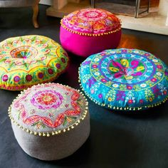 boho home accessories Felt Embroidered Gypsy Floor Cushions - Cushions amp; Throws - Home Accessories Boho Stil, Décor Boho, Bohemian Decor, Bohemian Room, Bohemian Pillows, Gypsy Home Decor, Boho Cushions, Colourful Cushions, Boho Hippie