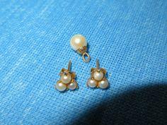 10K Yellow Gold SEED PEARL CLUSTER STUD EARRINGS & PEARL PENDANT. #Pendant Pearl Pendant, Belly Button Rings, Pearl Earrings, Pendants, Pearls, Yellow, Gold, Ebay, Jewelry