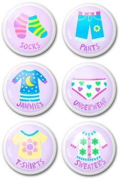 What a great way to label childrens drawers so they can 'help' put clothes away and get themselves dressed! From: Online: Olive Kids  Cost: Single knob $6.49 / Set of 2 $12.99 / Set of 6 $38.24 Available to Buy Online: Olive Kids  Cost: Single knob $6.49 / Set of 2 $12.99 / Set of 6 $38.24