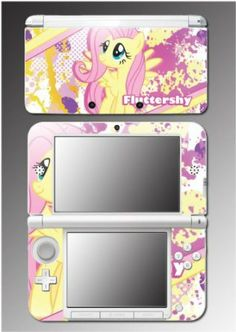 Fluttershy My Little Pony Friendship is Magic MLP Cartoon Video Game Vinyl Decal Cover Skin Protector for Nintendo 3DS XL.