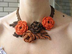Ravelry: virkkaaja's Rose necklace Rose Necklace, Ravelry, Crochet Necklace, Pink Necklace