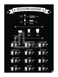 Plakat Przelicznik Kuchenny - Follygraph Kitchen Organisation, Diy Kitchen, Good To Know, Really Cool Stuff, Life Hacks, Projects To Try, Cooking, Food, Nice Things