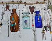 Bottle Chime with Vintage Bottles Embellished with Found Objects, buttons beads, etc. OOAK