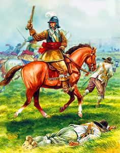 Charge of the Royalist cavalry against Parliamentarian musketeers in Shropshire