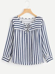 7b26a73431fb3 SheIn offers Contrast Stripe Tie Neck Blouse   more to fit your fashionable  needs.