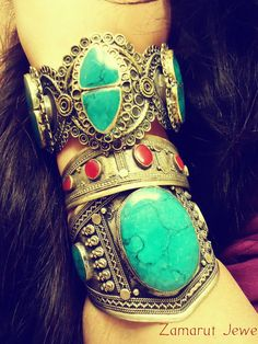 REAL TURQUOISE cuff bracelet German silver Tribal by ZamarutJewel, $69.99