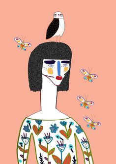 Lady, owl and Butterflies by Ashley Percival. Illustration, design, character design, people, style, illustrator, fashion, fashion illustrator, fashion illustration