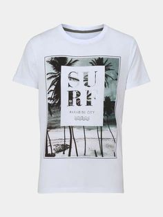 White Surf Print T-Shirt - Mens T-Shirts & Vests - Clothing - Burton