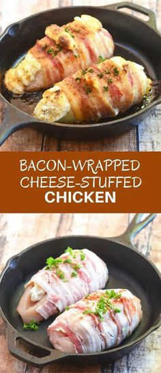Bacon-Wrapped Cheese-Stuffed Chicken stuffed with cream cheese and wrapped in crisp bacon. Super easy to make for everyday dinner yet fancy enough for company. via dinner wraps Bacon-Wrapped Cheese-Stuffed Chicken - Onion Rings & Things Cream Cheese Chicken, Chicken Stuffed With Cheese, Bacon Cream Cheese Bombs, Cooking Recipes, Healthy Recipes, Healthy Meals, Healthy Food, Healthy Protein, Healthy Eating