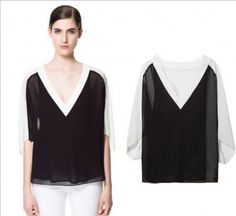 SUMMER EUROPEAN AND AMERICAN WOMEN'S NEW FAKE TWO-PIECE TWO-PIECE V-NECK SHIRTS ON WHOLESALE BLOUSES FT828