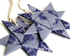 Star ornament origami folded textured dark blue by SewDanish