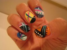 Aztec nails love it I want to try this design even though it would take forever