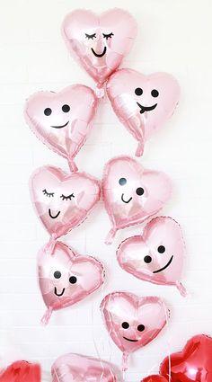 diy valentine balloons, heart emoji balloons,