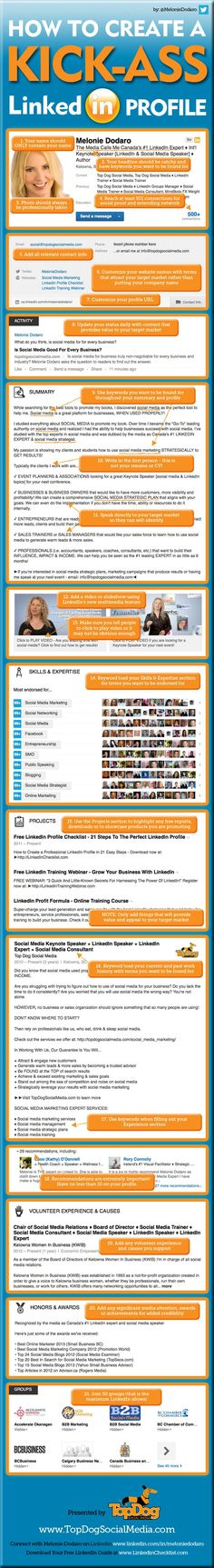 How to Create the Perfect #LinkedIn Profile [#Infographic]  - via http://thesearchmarketer.com. Here's a terrific guide on how to surface on LinkedIn for your target keywords.