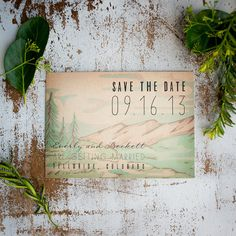 Rustic Save the Date Card, Mountains, Trees, Forest, Rustic Wedding - woodland wedding, woods, Vintage, Antique, lake, river, lake wedding