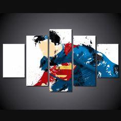 5 Piece Multi Panel Modern Home Decor Framed Superman Super Hero Wall Canvas Art - Octo Treasures - 2