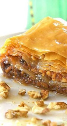 Recipe for Greek Baklava - A Greek favorite that makes everyone think you are a master chef and is sooo easy to make! The phyllo dough for this recipe is found in the freezer section of most grocery stores. Greek Desserts, Köstliche Desserts, Greek Recipes, Delicious Desserts, Dessert Recipes, Yummy Food, Phyllo Dough Recipes, Pastry Recipes, Cooking Recipes
